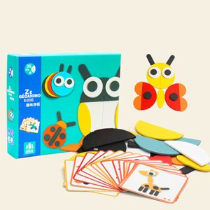 50pcs Animal Wooden Board Set Colorful Baby Educational Wooden Toy for Children Learning Developing Toys b