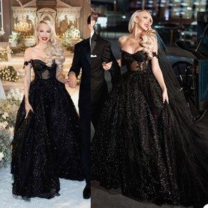 Black Wedding Dresses Glitter Sequins A Line Bridal Gown Off Shoulder Beads Appliqued Lace Beach Custom Made Sweep Train Boho Chic Robes De Mariée