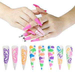 Colorful Nail Art Fluorescence Decals Flame Sticker Set Fluorescent Big Bowknot Clouds Flowers Fingernail Stickers