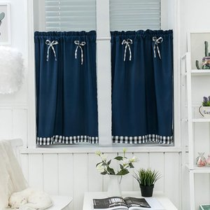 Curtain & Drapes Blackout Short Curtains Living Room Bedroom Kitchen Window Treatments Small Bow-Knot Valance Cover