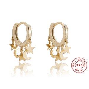 Andywen 925 Sterling Silver Moon Star Drop Boucle d'oreille Pendiente Luxe 2020 Bijoux à la mode Nouveau Cercle Boops Libre Joyaux 896 T2