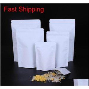 Bulk Kitchen Storage Housekeeping Organization Home Garden Drop Delivery 2021 Zipper White Aluminizing Pouch Stand Up Kraft Paper Aluminium F