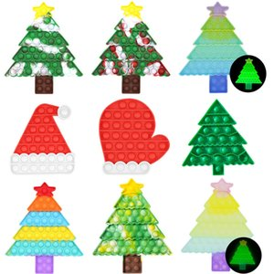 Christmas Tree Push Bubble Fidget Toys Children Autism Needs Antistress Game Board for Children Adult Family Interactive Toys
