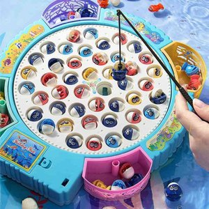 Play House KitchenBaby electric Simulation fishing toy set children's intelligence early education kitten magnetic rotating fish plate small