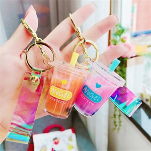 Pearl milk tea keychain Party Favor creative cute colorful net red tide language cartoon key chain student unzip toy gift DD090