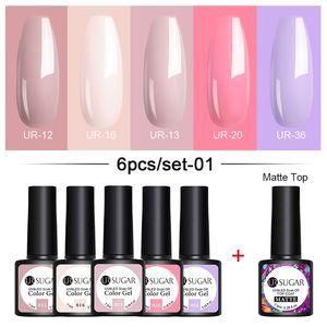 PerfectionsUR SUGAR 7.5ml Gel Nail Polish Set tSoak Off Color Gel Semi Permanent Base Top UV LED Lamp Manicures Varnish Spring Nail Gel