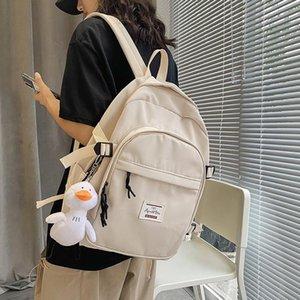 Solid Color Women's Backpack For Women 2021 Waterproof Multi Pocket Travel Backpacks Large Capacity School Bag Teenage Girls