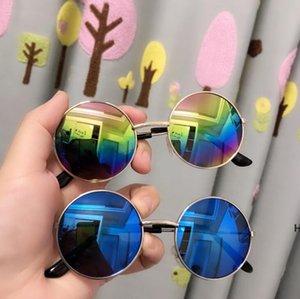 Çocuk Güneş Gözlüğü Tasarımcısı Açık Güneş Gözlükleri Gözlük Yansıtıcı Gözlük Ayna Klasik Unisex Retro Yuvarlak Çerçeve Sunglass DHC7189