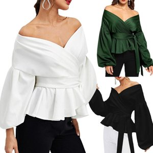 Office Lady Elegant Blouses Women Sexy Long Lantern Sleeve Solid White Blouse V Neck Bowknot Waist Bandage Shirts