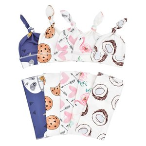 2PCS Soft Baby Swaddle Muslin Blanket Cute Animal Printed Newborn Infant Baby Sleeping Bags Zipper Wrap Swaddling Blanket+Hats 928 Y2