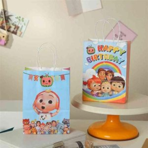 Cute Cartoon Cocomelon Children's Gift Bag Lovely Hand Bag Portable Rainbow Fashion For kids Creative Paper Bags Gift Packaging Polybags gyqqq
