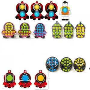 TV Squid Game Cartoon Push Bubble Fidget Toys New Children's Colorful Finger Decompression Kids Toy Key Chain LLB11020