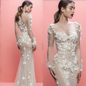 Brand New 2019 Mermaid Wedding Dress Sexy Illusion Bodice 3D Floral Appliques Beaded Wedding Dresses Sheer Long Sleeves Bridal Gowns