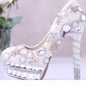 2019 Gorgeous White Pearl and Rhinestone Wedding Bridal Shoes Crystal High Heel Shoes Cinderella Ball Pumps Big Size White and Ivory Color