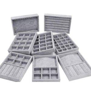 2021 Handmade DIY Jewelry Box Drawer Storage Organizer Gray Soft Velvet Jewellery Earring Necklace Pendant Bracelet Tray 9 Options