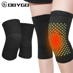 Elbow & Knee Pads GOBYGO 2pcs Self Heating Support Sports Warm Soft Massager Pain Relief Brace Recovery Belt Women Men