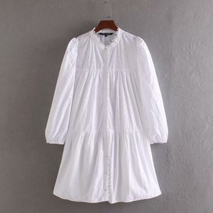 2020 women elegant hollow out embroidery casual white shirtdress female long sleeve lace edge vestidos chic mini dresses DS3435