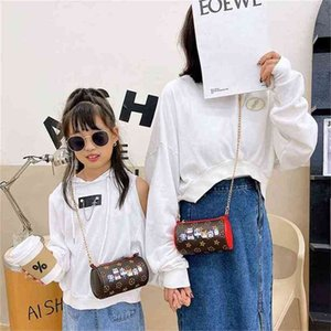 Christmas Children's Autumn Winter Bucket Bag Fashion Baby Girl Parent-child Chain Messenger Bags One-shoulder PU Printed Purse Coin Case G109AQLZ