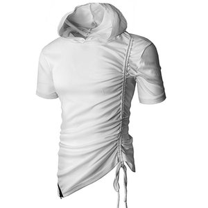 Mens Hipster Hip Hop Short Sleeve Side Zipper Hooded T Shirts Solid Swag Extended Tees Fashion Urban Clothing M-3XL Men's T-Shirts