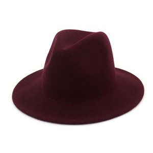 Wool Wide Brim Felt Fedora Hat Solid Skhaki Simple Church Derby Top Hat Panama Solid Men Women British Style Jazz Cap