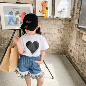 INS Kids Love Heart Printed T-shirt Summer Girls Short Sleeve Tees Children Cotton casual tops A6339