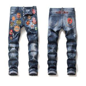 Mens jeans badge rasga estiramento preto moda fina fita lavada calças jeans painéis painéis hip hop calças casual maduro maduro primavera calça