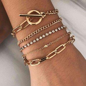 Ювелирные изделия мода геометрия OT кнопка металлический браслет женские творческие многослойные украшения с бриллиантовыми бисером