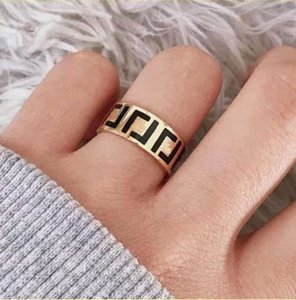 Fashion letter ring bague for Woman Simple Personality Party wedding lovers gift engagement rings jewelry NRJ