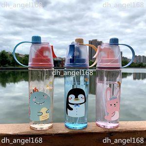 Tiktok 2021 Fashion Cartoon Spray Water Bottle 600ml Big Capacity Adults Kids Outdoor Sports Drinking Cup Drinkware FY4135