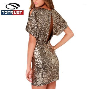 Dress Party Dress Short 2020 New Spring Backless Seaillum Dress Step BodyCon per le donne Abiti Vestidos Gold Sexy Mini glitter1