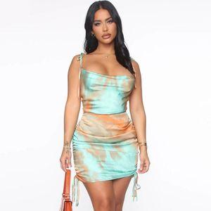 Casual Dresses Boho Retro Colorful Print High Quality Silk Dress Women Elegant Streetwear Summer Ladies Tassel Bodycon Mini