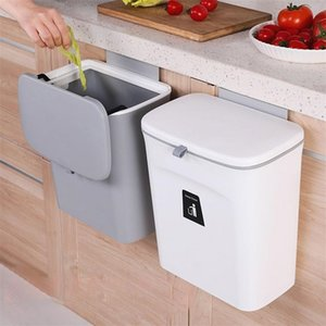 7L   9L Wall Mounted Trash Can Bin With Lid Waste Kitchen Cabinet Door Hanging Garbage Car Recycle Dustbin Rubbish 210907