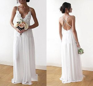 Summer Beach Wedding Dresses Sexy Backless Bridal Gowns With Spaghetti Lace Chiffon Boho Vestidos de Novia Custom Made