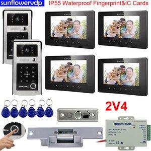 Video Door Phones Intercoms IP55 Waterproof Fingerprint IC & Code Unlock four 7inches Color Indoor Monitors + Electric Strike Lock 2 Doors Doorbell for Apartments