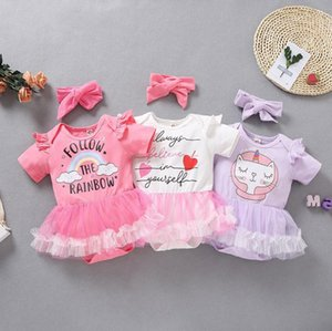 Baby Girls Rompers Mesh Skirt Jumpsuits Headband 2pcs Sets Printed Toddler Climbing Clothes Summer Kids Boutique Clothing 3 Designs BT6426