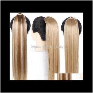 24 Inches Long Straight Clip In Pony Tail Synthetic Extension Extensions Wrap On Pieces Fake Uzszt Ponytails B0Xdi