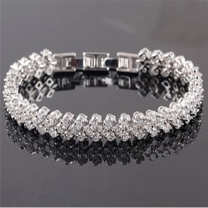 Shining Crystal Bracelets Genuine 925 Sterling Silver Charms Bracelet Diamond Roman Tennis Link Bracelet Jewelry