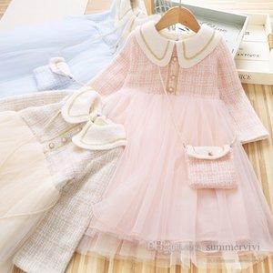 Lady style children plaid dresses girls lapel long sleeve splicing lace tulle dress+lattice pearls chain bag 2pcs sets winter kids princess clothes Q2733