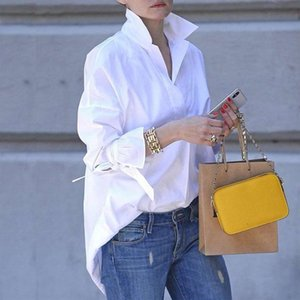 Women's Blouses & Shirts Spring Long Sleeve Tops Women Casual Shirt Top Lapel 2021 Fashion Plain Print Blouse Clothing