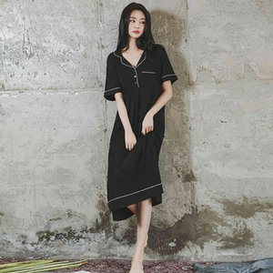 Women Cotton Sleepwear Large Sizes Short Sleeve Long Skirt Night Dresses Plus Size Nightgowns Loose Nightdress Home Clothes