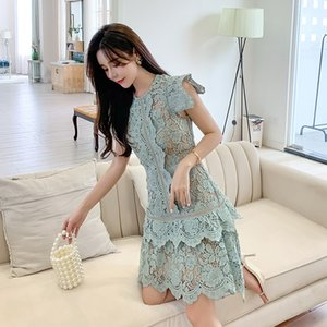Fashion Ruffle Runway Summer Dress Women's Sleeveless O Neck Irregular Lace Hollow Out Dresses Vestidos