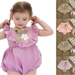 Baby Girls Rompers Infant Floral Embroidered Jumpsuits Kids Casual Falbala Ruffle Bodysuit Summer Puff Sleeve Onesie Newborn Playsuit AYP565