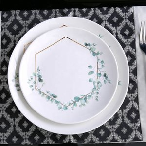 세라믹 꽃 등나무 요리와 접시 결혼식을위한 사용자 정의 도자기 충전기 플레이트