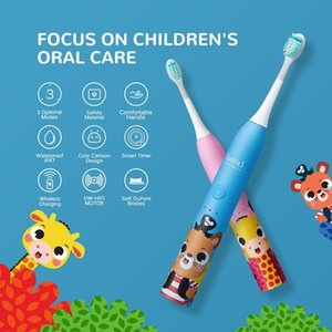 APIYOO Electric Toothbrush A7 Children Cartoon Design Sonic Electric Toothbrush Oral Care Oral Cleaning Rechargeable with 2 Brush Heads Blue Pink