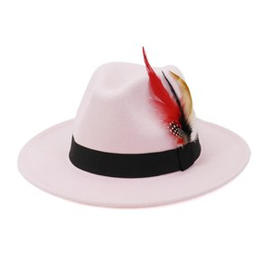 Wool Fedora Hats Women Men Felt Vintage Artificial Style with Feather Band White Hat Flat Brim Top Jazz Panama