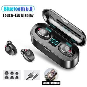 Wireless Earphone Bluetooth V5.0 Rename GPS F9 TWS sports Headphone LED Display With 2000mAh Power Bank Headset Microphon Andd1y_top