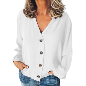 Plus Size Women Casual Solid Color Long Sleeve V-Neck Buttons Opening Loose Shirt Blouse Ladies Pullover Tops For 2021 Women's Blouses & Shi