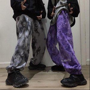 Women Capris Elastic Waistband Loose Harem Embroidery Tie Dye Contrast Jogger Pant Man Streetwear Korean Harajuku Punk Hip Hop