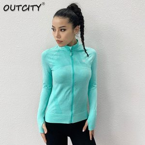Sexy Women Yoga Top Sportyoga Top Zipper Long Sleeve Yoga Shirt With Thumb Holes Solid Quick Dry Breathable Gym Fitness Shirt sqcHwc