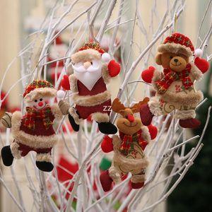 Christmas Plush Hanging Ornaments Santa Snowman Reindeer Bear Xmas Tree Pendant Holiday Party Decoration HWB10567